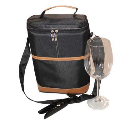 Super Bag Artigos Promocionais - Bolsa Porta Vinho em Nylon Especial com alça de mão e de ombro do mesmo material.  Detalhes em couro sintético e fechamento em zíper e dois cursores n...