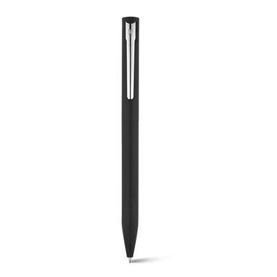Smart Promocional - Esferográfica em alumínio com mecanismo twist na cor preta.  Clipe em ferro com cromagem brilhante. Corpo laqueado com revestimento brilhante. Recarga...