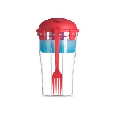 Smart Promocional - Copo para salada. PP. Com garfo e molheira. Capacidade: 850 ml. Food grade. ø110 x 190 mm