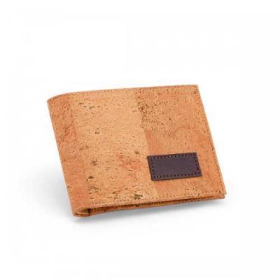 Blimp Brindes - Carteira. Cortiça. Com porta níquel e capacidade para 4 cartões. Fornecida em caixa kraft.