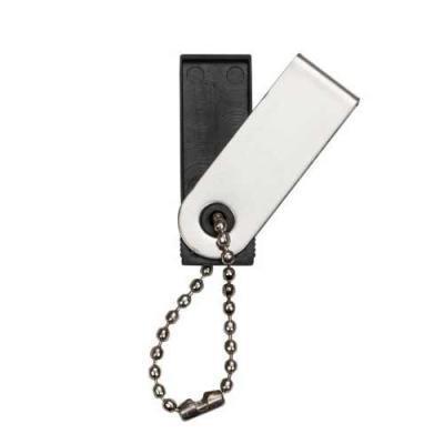 blimp-brindes - Pen Drive com a carcaça de metal, acompanha corrente, e o suporte plástico preto.