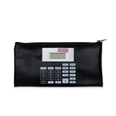 Blimp Brindes - Carteira couro sintético com calculadora solar de 8 dígitos. Carteira preta com detalhes prata na calculadora e botões impressos na capa em branco, po...