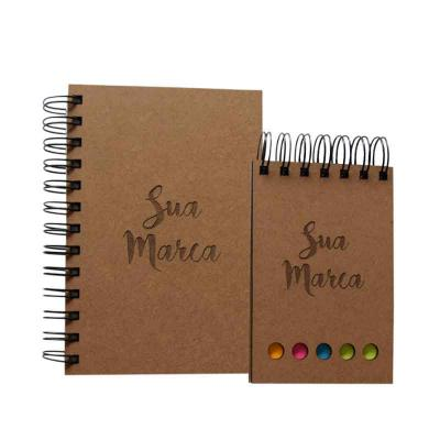 Punch Master - kit Ecológico Personalizado com agenda ou caderno e bloco em mdf côr natural Capas personalizadas com estampa 1 cor Dimensões  170mm x 115 acompanha b...