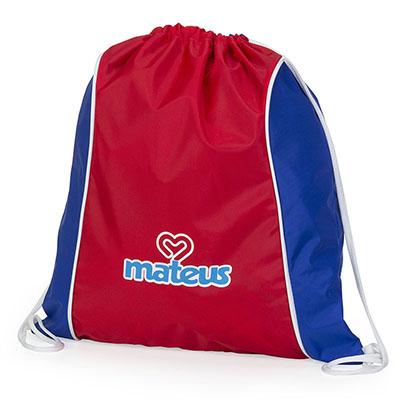 Jumas - Mochila saco, nylon amassado, cordão duplo de ombro branco, recortes nas duas laterais, vivo no acabamento. 35larg x 40alt