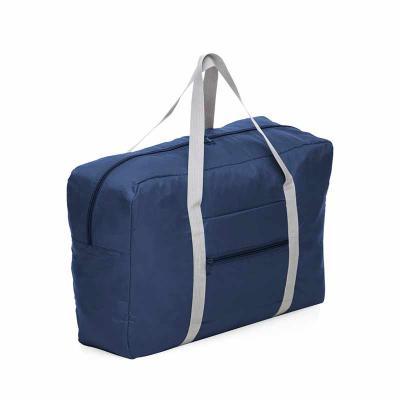 Box Brindes - Bolsa de viagem dobrável confeccionada em poliéster e alça para mãos em nylon. Possui bolso principal na parte superior, bolso frontal também utilizad...