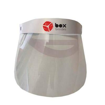 Box Brindes - Máscara em acetato com PP, super leve, com cinta ajustável na cabeça que pode ser transparente ou na cor que você escolher.  Personalizada com até 4 c...