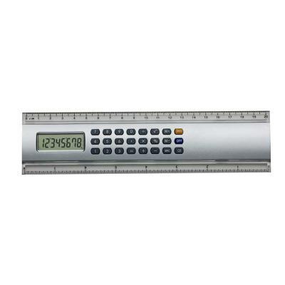 SOMA Brindes - Régua calculadora plástica 20cm. Calculadora de 8 dígitos com base prata, possui as medidas cm e polegada nas laterais plásticas transparentes. Acompa...