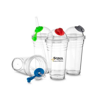 Soma Brindes - Copo plástico 480ml com tampa e canudo