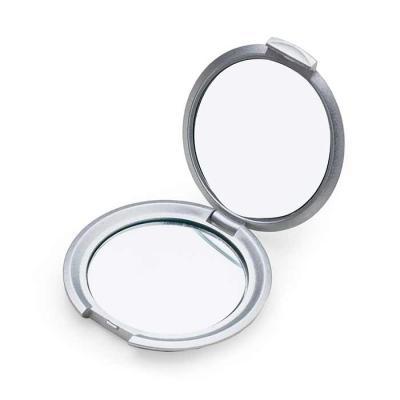 SOMA Brindes - Espelho redondo duplo sem aumento, material em plástico resistente com superfície ondulada. Tamanho total aproximado (CxD): 7,1 cm x 7,1 cm Peso aprox...