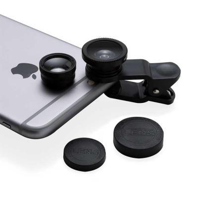SOMA Brindes - Conjunto universal de lentes para celular. Possui lente fish eye, lente macro, lente wide angle e prendedor Basta rosquear as lentes no prendedor e po...