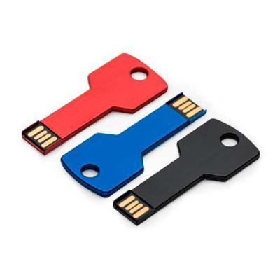 SOMA Brindes - Pen drive alumínio formato chave.  Tamanho total aproximado (CxD): 6,3 cm x 2,4 cm  Peso aproximado (g): 5  * FAVOR INFORMAR SE DESEJA COM 4GB ou 8GB....