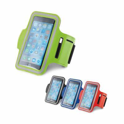 Soma Brindes - Braçadeira para celular. Soft shell de alta densidade. Com elementos refletivos e fecho ajustável. Para smartphone 5''. 430 x 150 mm