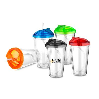 Soma Brindes - Copo Plástico 470 Ml com Tampa e Canudo