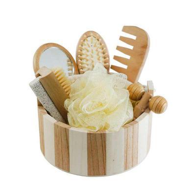 Soma Brindes - Kit banho em madeira 7 peças