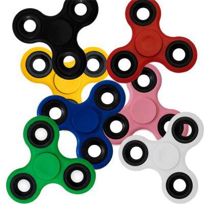 SOMA Brindes - Spinner anti-stress colorido com ruelas metálicas. Material plástico resistente, possui três ruelas pretas de metal. Rolamento central, basta segurá-l...