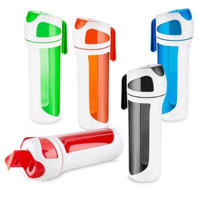 SOMA Brindes - Squeeze plástico 550 ml com alça de mão e emborrachado
