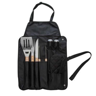 QI Brindes - Kit churrasco 8 peças em estojo de nylon. Contém espátula, garfo, faca, pegador, dois saleiros, luva e avental (também utilizado como estojo). Talhere...