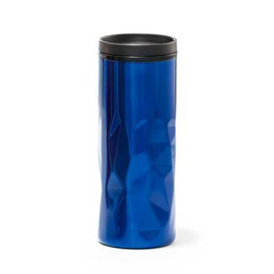 QI Brindes - Copo para viagem. Aço inox e PP. Com parede dupla, tampa e antideslizante na base. Capacidade: 520 ml. Food grade. ø72 x 184 mm