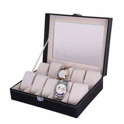 QI Brindes - Caixa estojo porta 10 relógios  Organizador luxo pespontado  Tampa com visor em vidro !    Medidas: 26cm comprimento x 20cm largura x 8cm altura    (O...