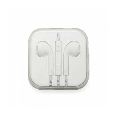 QI Brindes - Fone de ouvido estéreo com microfone e controle de volume. Fone de ouvido plástico na cor branca, entrada P2, possui indicativo L(left) e R(right) na...