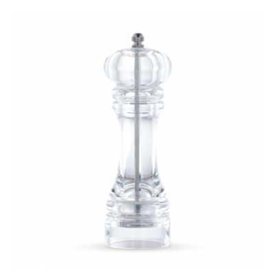 qi-brindes - Moedor de pimenta em acrílico translúcido, possui pino de alumínio superior(basta desrosquear para retirar a tampa e colocar a pimenta dentro).  Medid...