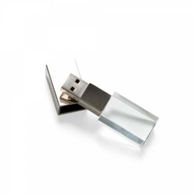 QI Brindes - Pen drive 4GB de vidro com tampa plástica prata espelhada.  Medidas aproximadas para gravação (CxD):  1,7 cm x 2,9 cm  Tamanho total aproximado (CxD):...