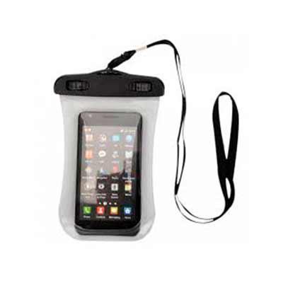 qi-brindes - Case impermeável universal para smartphones com cordão de nylon de tamanho regulável, fabricado em PVC.  Medidas aproximadas para gravação (CxD):  9,5...