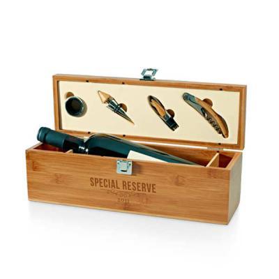 QI Brindes - Conjunto para vinho. Bambu e zinco. Saca-rolhas com canivete de sommelier, gargantilha, salva-gotas com tampa e rolha. 363 x 112 x 119 mm