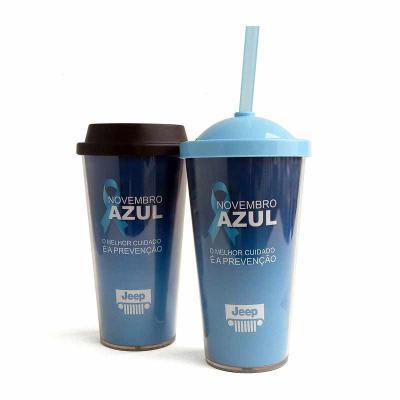 QI Brindes - A parede é produzida e acrílico cristal e o copo interno/tampa são produzidos em polipropileno e livre de BPA. Acompanha 3 modelos de tampas: - Tampa...