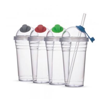 QI Brindes - Copo Plástico 480ml com Canudo