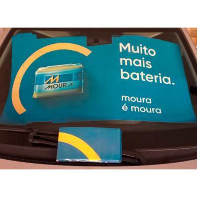 Work Promo - Tapa sol compacto em cartão duplex 300 gr/m2, impresso em off-set, laminado e acoplado ao micro ondulado. Formato especial ( 112 x 68 cm) Modelo exclu...