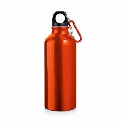 Tiff Gráfica - Squeeze de Alumínio com capacidade de 500 ml com tampa de rosquear e Mosquetão. Personalização sugerida: Laser.