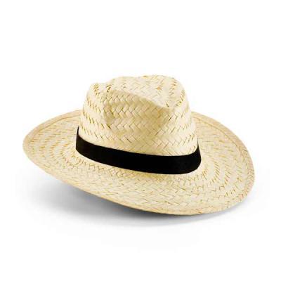 Tiff Gráfica - Chapéu Panamá em palha natural. Tamanho: 580 mm Dois tons de palha. Fita nas cores bege e marrom. Personalização em Silkscreen na fita.