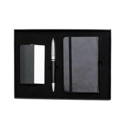 Tiff Gráfica - Kit executivo 3 peças em estojo de papelão com tampa e parte interna revestida de espuma. Contém: porta cartão de couro sintético texturizado com deta...