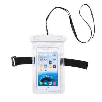Tiff Brindes - Capa Personalizada impermeável universal para smartphones com cordão de nylon de tamanho regulável, fabricado em PVC. Personalização em Silkscreen.