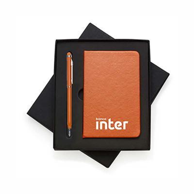 Tiff Brindes - Conjunto com Caderneta tipo Moleskine e caneta Personalizados
