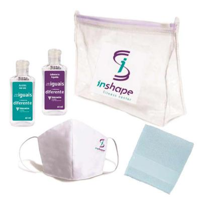 Tiff Brindes - Kit Higiene com Álcool gel, Máscara, Sabonete Líquido e Toalha de mão