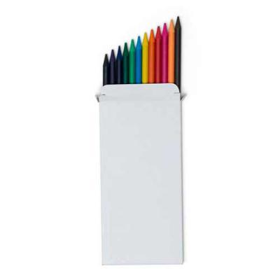 Tiff Brindes - Conjunto lápis de cor com 12 unidades, acompanha caixinha de papelão. Lápis de grafite colorido e corpo produzido em material pinha de pigmentação col...
