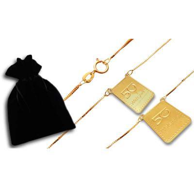 Fox Brindes que Valem Ouro - Escapulário folheado a ouro com  pingentes personalizados de acordo com a logo do cliente, embalagem especial, corrente cartier com os pingentes em ca...