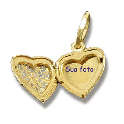 Fox Brindes que Valem Ouro - Pingente Coração Porta Foto com embalagem personalizada com sua marca ou evento, banhado  em ouro18K, Prata, com acabamentos e cores variadas como gra...