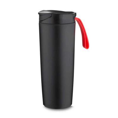 Maxim Brindes - Copo plástico anti queda 400ml com alça emborrachada colorida. Tampa rosqueável com abertura de bocal, parte inferior do produto possui ventosa.