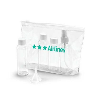 FCFIT Bolsas Thermal Bags - Bolsa de cosméticos hermética. PVC. Incluso 3 frascos (2 x 65 ml e 60 ml), 1 vaporizador (80 ml) e 1 funil. Apropriada para transporte em cabine de av...