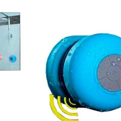 renova-brindes - Caixa de Som a Prova D'água para a hora do banho, recarregável, com grude para parede e vidros, com bluetooth para atender ligações