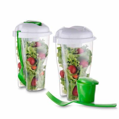 Zoom Brinde - Copo plástico saladeira personalizado 800 ml para salada com recipiente para molho e garfo, plástico utilizado PS (Policarbonato).   Ótimo brinde para...