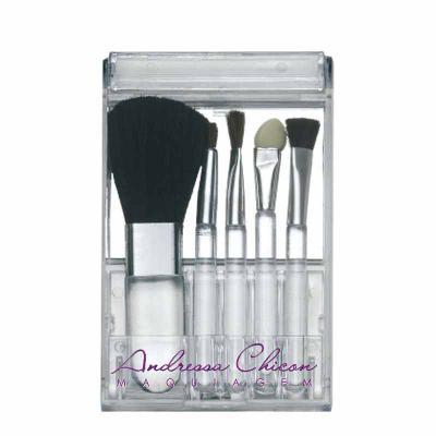 Zoom Brinde - Kit pincel personalizado 5 peças em estojo plástico com visor transparente. Parte interna acompanha um espelho, compartimento dos pincéis é inclinável...