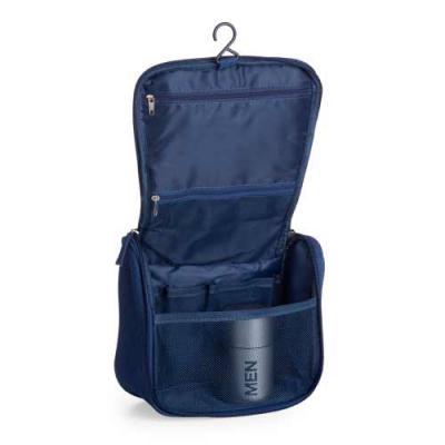 Zoom Brindes - Necessaire organizadora em tecido nylon Oxford, possui bolso frontal e alça superior, parte interna com gancho plástico; bolso interno superior em nyl...