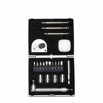 """A&B Kits Corporativos - Kit ferramenta 21 peças com caixa de plástico resistente, para abrir basta pressionar botão """"push"""" na parte central. Possui: 3 mini chaves de fenda, t..."""