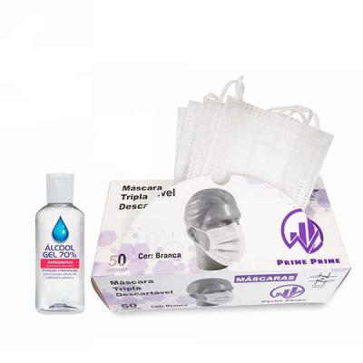 A&B Kits Corporativos - kit de máscaras descartáveis e álcool gel, máscaras de proteção descartáveis - EFB Eficiência a Filtração Bacteriana 95%  - Tripla Camada - Atóxica -...