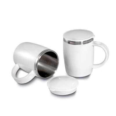 Rnaza Material Promocional - Caneca inox com revestimento externo e tampa plástica
