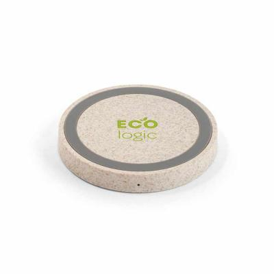 Rnaza Material Promocional - Carregador wireless em ABS e fibra de palha de trigo